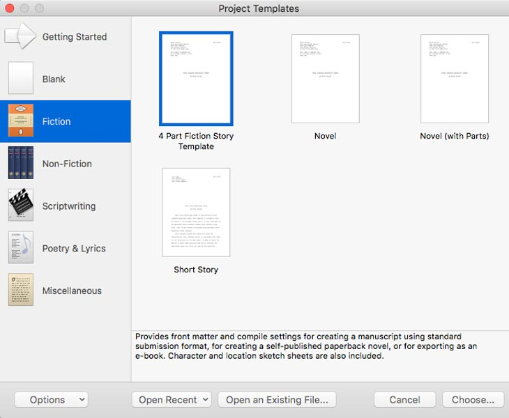How to use Scrivener Templates Screenshot