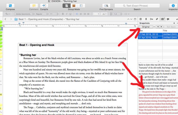Scrivener Screenshots Compare Snapshots