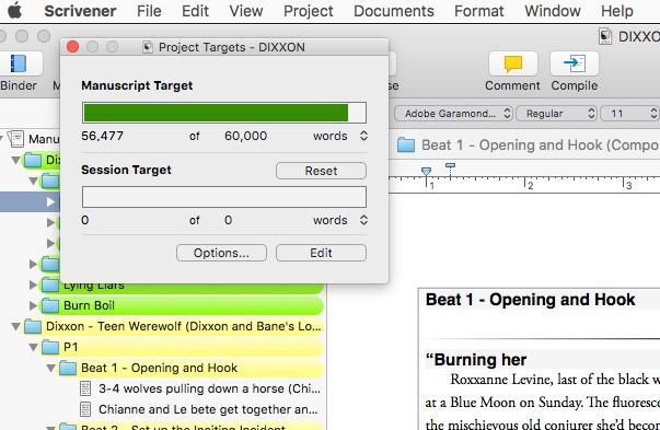 Scrivener Screenshots Scrivenerville Project Targets