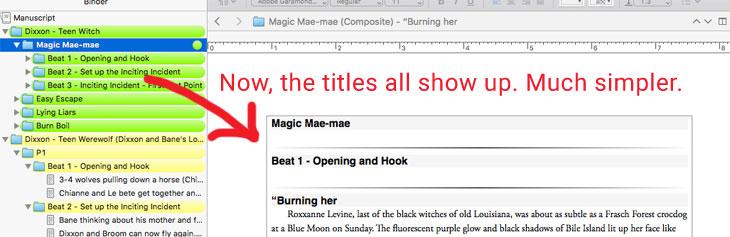 Scrivener Screenshots Show Titles On