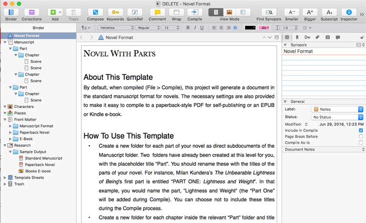 Scrivener vs Evernote: Novel Parts Template